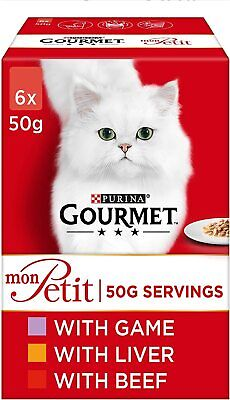 Gourmet Mon Petit Wet Cat Food Game Liver And Beef - Pack Of 48 Pc • 26.40£
