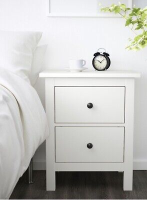 Pair Of 2 Ikea Hemnes Chest Of Two Drawers In White Solid Wood Traditional BN • 155£
