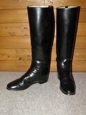 £115 • Buy Vintage  Hawkins  English Made Black Leather Riding Boots Size UK 6 Extra Wide