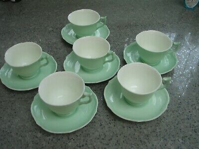 6 Pretty Green Bone China Coffee Cups And Saucers • 10£