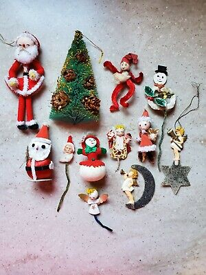 $ CDN21.04 • Buy VINTAGE Lot Of Christmas Ornaments Decorations Santa Angel Snowman & Tree
