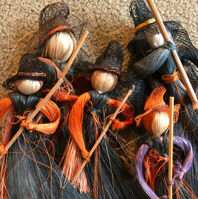 $ CDN50.34 • Buy Lot Of 5 VTG STRAW Cornhusk WITCHES Halloween Decor HANGING Ornaments COLLECTION