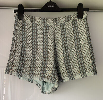 Topshop Blue Silver Beaded Embellished Shorts Size 8 • 9£