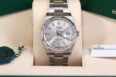 $ CDN11561.37 • Buy Rolex Datejust 36 Silver Index Fluted Oyster Oct 2020 Box/Papers/Card 126234