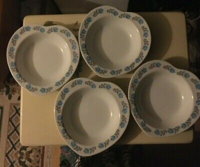 Barratts Delphatic  4 Heartshaped Cereal/pasta Bowls, White With Blue Floral Rim • 5.90£