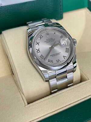 $ CDN8588.11 • Buy Rolex Datejust 116200 Silver Roman Dial Stainless Steel Watch Box Papers 36mm