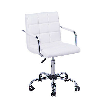 AU174.66 • Buy Modern Office Chair Padded Back Seat Armrest Swivel Ergonomic Chrome Base White
