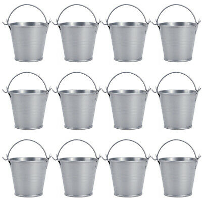 £10.99 • Buy 12 Metal Bucket Candy Favours Box Pail Wedding Party Gift Serving Chip Holder