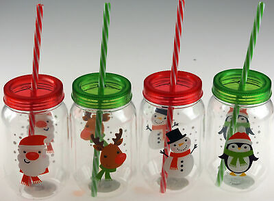 Set Of 4 Christmas Plastic Drinking Jars With Lid And Straw - Green / Red • 10.99£