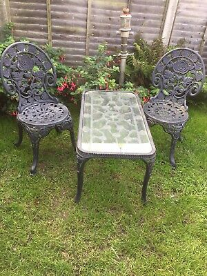 Garden Patio Cast Iron/aluminium Set 2 Chairs And Coffee Table Great Looking • 100£