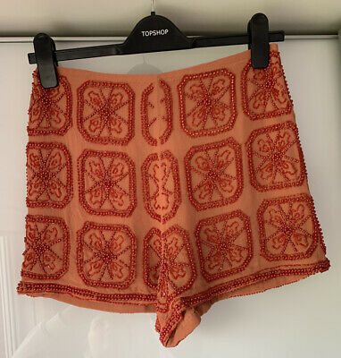 Topshop Red Orange Embellished Beaded High Waisted Short Bnwt Size 8 • 15£