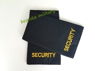 £4.99 • Buy Epaulettes Badge Sliders SECURITY Gold On Black Cloth Sold As Pair (BRAND NEW