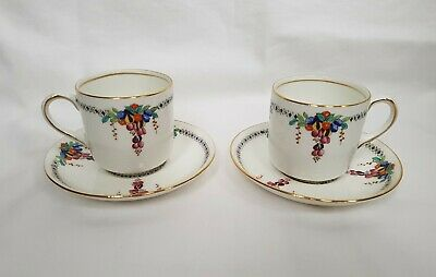 Sampson Smith Wetley China Vintage Bone China Coffee Cups With Saucers • 8£