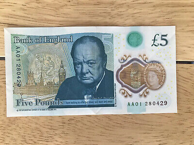 AA01 Five Pound Note - AA01 280429 Circulated But In Excellent Condition. • 5.58£