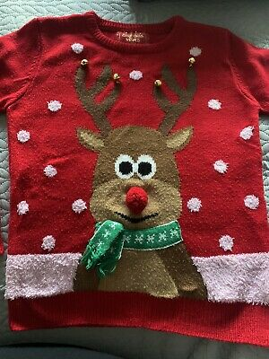 Christmas Jumper Rudolph Bells 8-9 Years • 5£