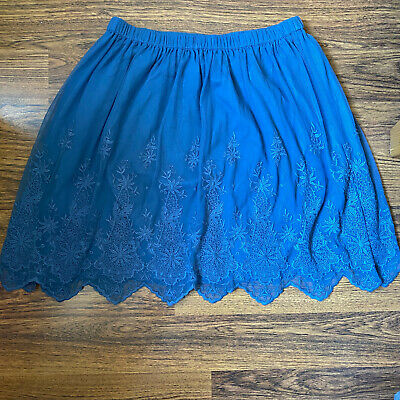 "M&S Indigo Blue Net LACE Embroidered Flare MINI Skirt Sz 10 L20"" BOHO Party • 4£"