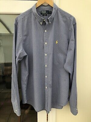 "Ralph Lauren Mens Shirt 3XL XXXL 48"" 50"" Chest Navy Blue Gingham Check 25.5""PTP • 21.90£"