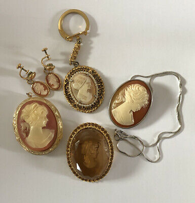 $ CDN62.82 • Buy Vintage Cameo Brooches Pendants Earrings LOT Jewelry Signed Florenza Keychain