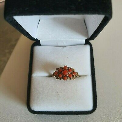Victorian 9ct Gold Coral Cluster Ring • 150£