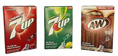 A&W Root Beer, 7 Up, Cherry 7 UP Singles To Go Pack Drink Mix 6 Packs Per Box • 5.99£