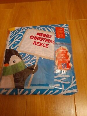 Personalised (Reece) Christmas Cuddles Single Bed Set Brand New • 4£