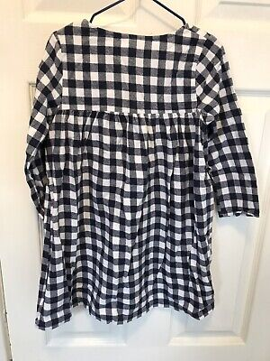 Girls Little White Company Checked Dress. Navy Blue And White, Size 4-5yrs. • 4£