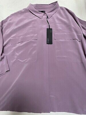 Marks & Spencer Autograph Pure Silk Relaxed Fit 3/4 Sleeve Shirt  Size 24 Bnwt • 24.99£