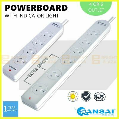 AU16.95 • Buy 4/6 Way Outlet Power Board Powerboard Sockets Power Point Extension Space Saving