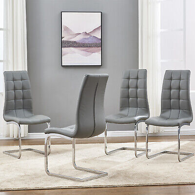 2 4 6 Dining Chairs Faux Leather High Back Chrome Leg Kitchen Living Room Grey • 195.98£