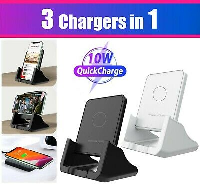 $ CDN12.67 • Buy Qi Wireless Fast Charger Charging Stand Pad Dock For Samsung IPhone LG Cellphone