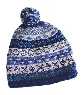 Pachamama Sustainable Fair Trade Finisterre Natural Wool Bobble Beanie Hat Denim • 18.95£