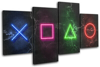 Play Station Symbols Neon Gaming MULTI CANVAS WALL ART Picture Print • 31.99£