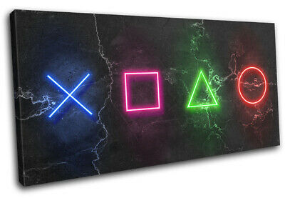 Play Station Symbols Neon Gaming SINGLE CANVAS WALL ART Picture Print • 23.99£