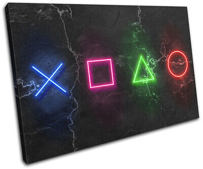 Play Station Symbols Neon Gaming SINGLE CANVAS WALL ART Picture Print • 15.99£
