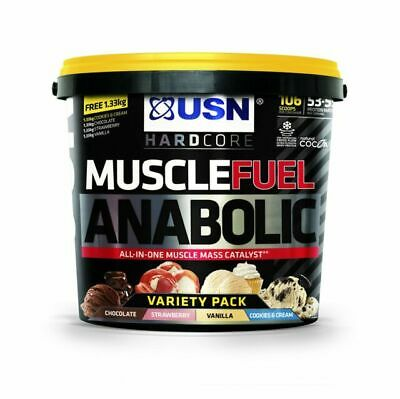USN Muscle Fuel Anabolic All In One 4kg Weight Gainer - Variety Pack • 45£
