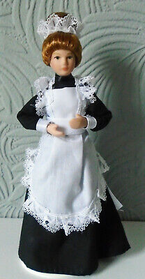 $ CDN12.03 • Buy Dolls House MAID In Black & White Uniform Porcelain Doll NEW 12th Scale