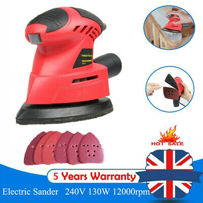 Heavy Duty 135w Detail Palm Corner Mouse Hand Sander Sanding Tool & 6 Sheet • 13.90£
