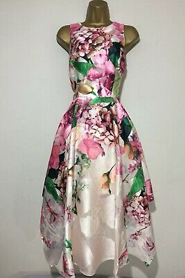 Coast Floral Jacquard Fit And Flare Evening Dress, Size 16 • 65£