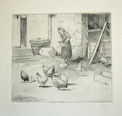 'Feeding Chickens, Arran' Robert Dickie Cairns From Studio Sale.Signed Etching • 25£