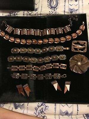 $ CDN1.34 • Buy 10 Piece LOT Of Vintage COPPER JEWELRY Some Signed Renoir And Matties