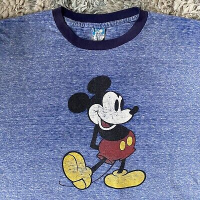 $ CDN66.83 • Buy Vintage 70s XL Blue Mickey Mouse Ringer T Shirt Distressed Character Burnt Out
