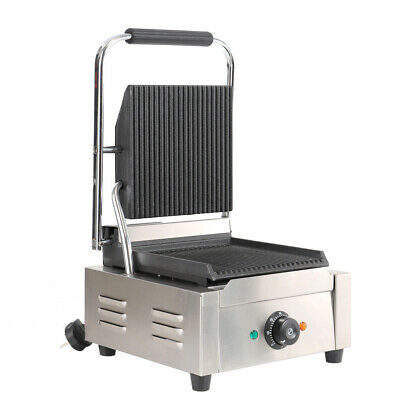 1800W Grooved Panini Press Ribbed Grill Toaster Sandwich Commercial Machine New • 125.95£