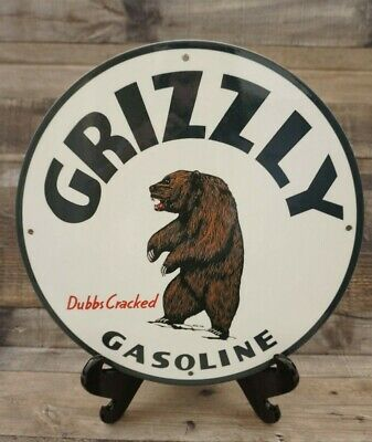 $ CDN1.31 • Buy Vintage Grizzly Gasoline Porcelain Sign Gas Oil Pump Plate Advertising Bear