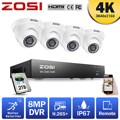 AU407.99 • Buy ZOSI 4K Ultra HD H.265+ 8MP CCTV Security Camera System 8CH DVR Outdoor Home 2TB