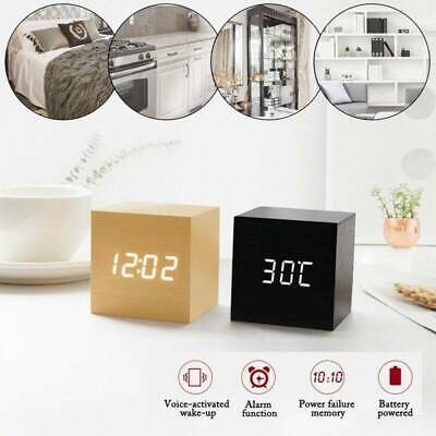 Wooden Cube Digital Alarm Clock Home Desk Thermometer VoiceControl TouchControl • 9.89£