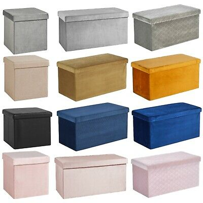 Folding Ottoman Chest Solid Sturdy Storage Space Saving Bedding Box Trunk • 12.99£