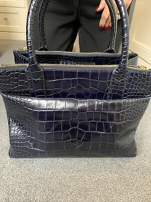 Hobbs Navy Leather Navy Croc Gold Zips Lots Of Compartments  Womens Shopper Bag • 35£