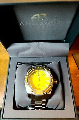 Android Divemaster 50mm Jump Hour Seagull Auto Yellow Dial/ Luminous Mens Watch • 58£