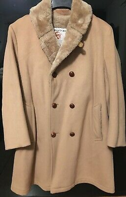 $27.50 • Buy Vintage Wool Pea Coat Tan Camel Cloth SM Or MED Mighty MacOut Of Gloucester