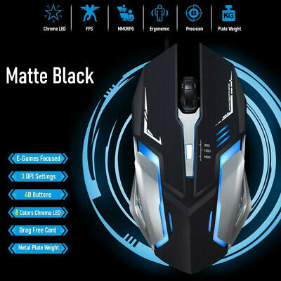 AU8.99 • Buy K1 USB Wired Gaming Mouse LED Breathing Light 1600 DPI 4 Keys Mice For Laptop PC